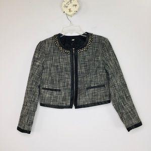 H&M studded tweed zip cropped moto jacket